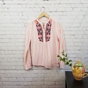 Holding Horses Pink Embroidered Long Sleeve Top M